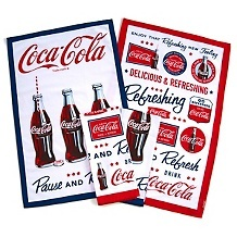 Superior Coca Cola 100% Cotton Set Of 4 Tea Towels