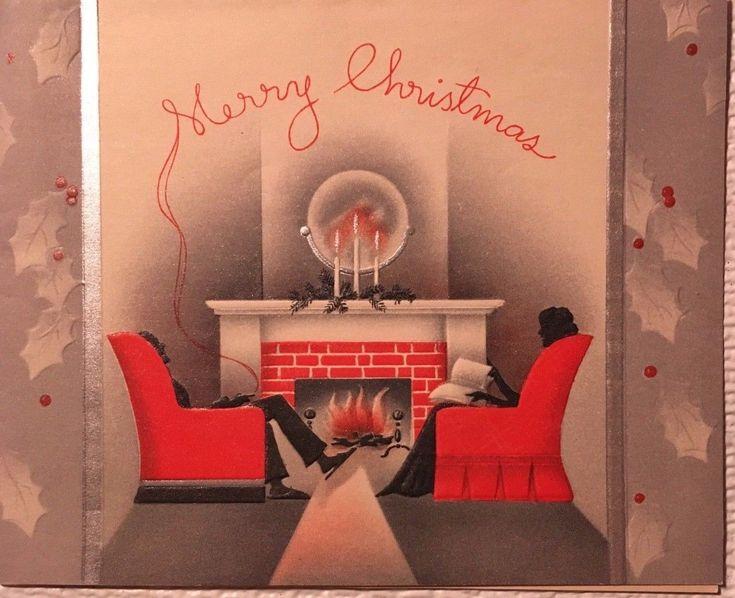 VINTAGE COUPLE BY FIREPLACE MAN CIGARETTE SMOKE USED CHRISTMAS CARD | eBay