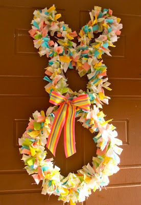 Fabric Scrap Easter Bunny Wreath - DIY..just darling! Hopp along and do it now!