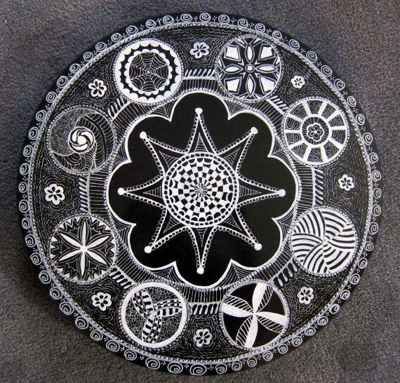 Large Decorative Hand-Painted LAZY SUSAN Board--Original OOAK Zentangle Art!