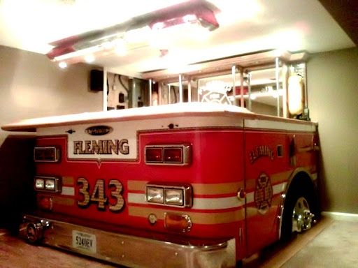 For all the firefighters that want to have some fire water in the fire engine.  Neat idea for a bar