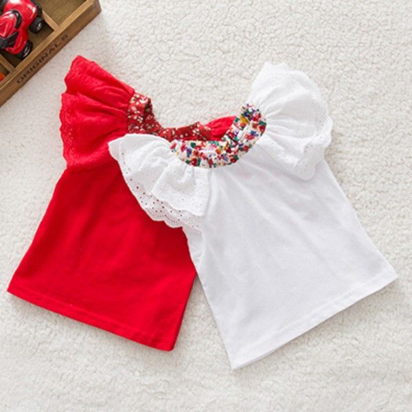 New fashion Floral Collar T-shirts Baby Girls Short Sleeve Tops Cute Blouse Shirts 0-2Y Free Shipping
