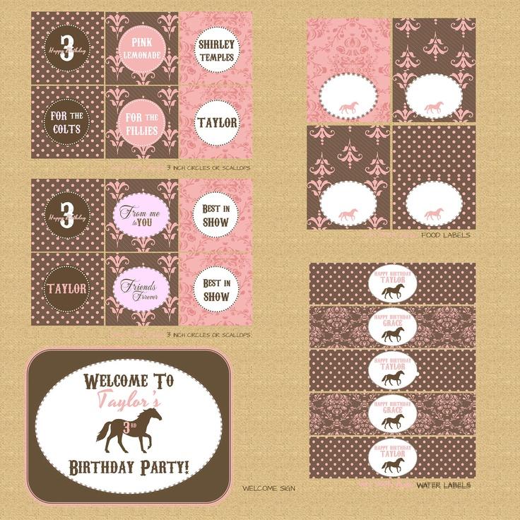 Printable Pony / Horse Birthday Party Invitation Vintage Style, Shabby Chic.