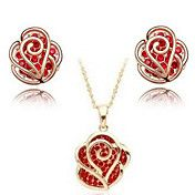 roos bloem oorbellen en ketting sieraden set ... – EUR € 10.11