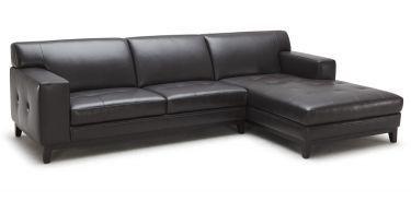 Encore Black Leather Sectional Sofa
