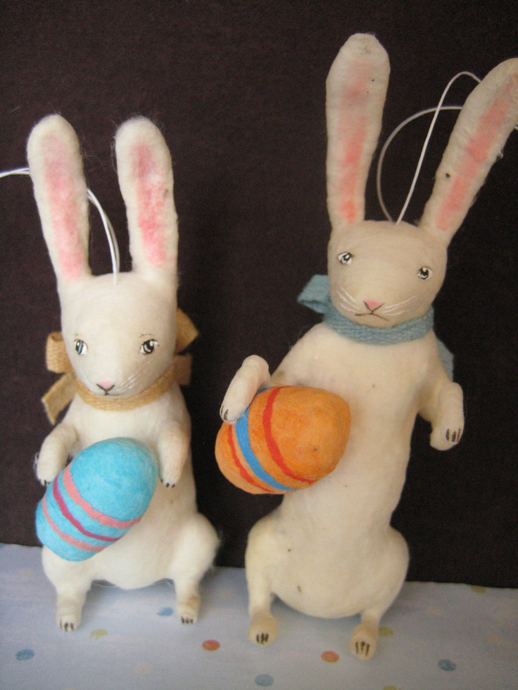 Spun Cotton Vintage type white rabbit and blue egg ornament maria pahls