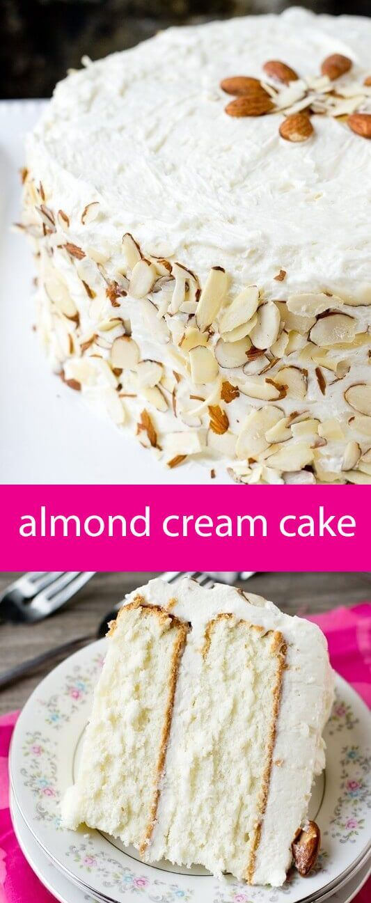 almond cream cake recipe / from scratch white cake / white cake recipe / almond flavored cake / cooked frosting / whipped frosting / flour via @tastesoflizzyt