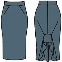 Translated from Russian: Skirt tight-fitting shape. Ahead tuck inclined toward the side seam. Allowances darts press it to the front of the center. Behind shaped undercut, in which the shuttle and Sew flared wedge. Tuck figure undercut press it to the middle of the back. Clasp hidden behind the zipper.
