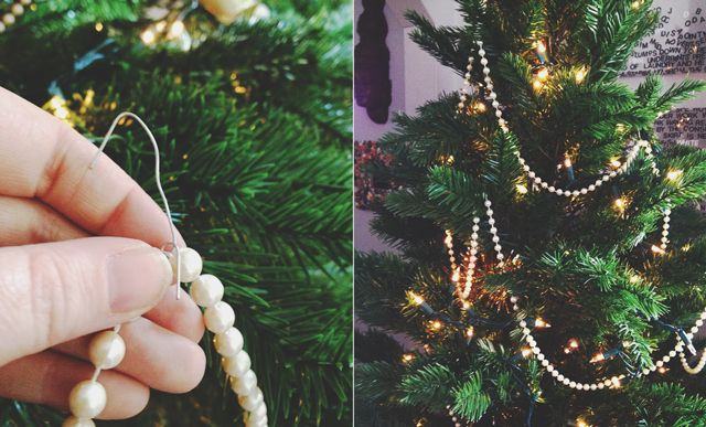 Use hooks to add garland to the tips of branches instead of laying it around in belts. (More tips for thickening a tree for under $5!)