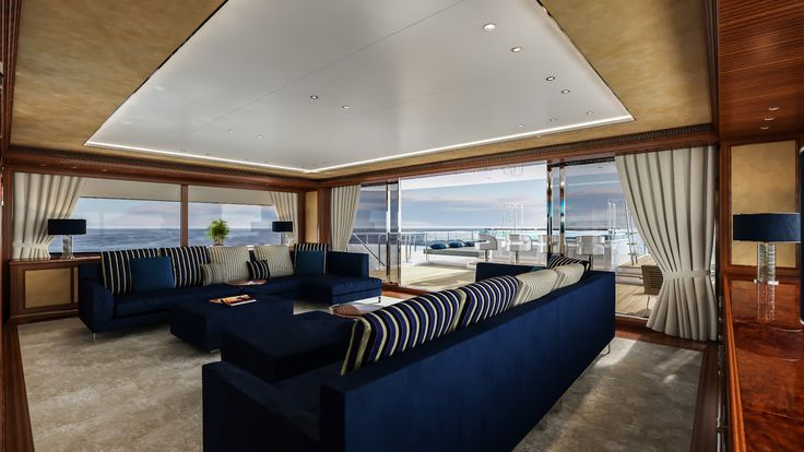 #Sanlorenzo #60Steel #familyroom. She recalls the timeless and #classic Sanlorenzo design, combined with the most innovative technical features that modern #yachting has to offer.  #spaciousness #Sanlorenzo60Steel #Megayacht #Luxury #SimpsonMarine