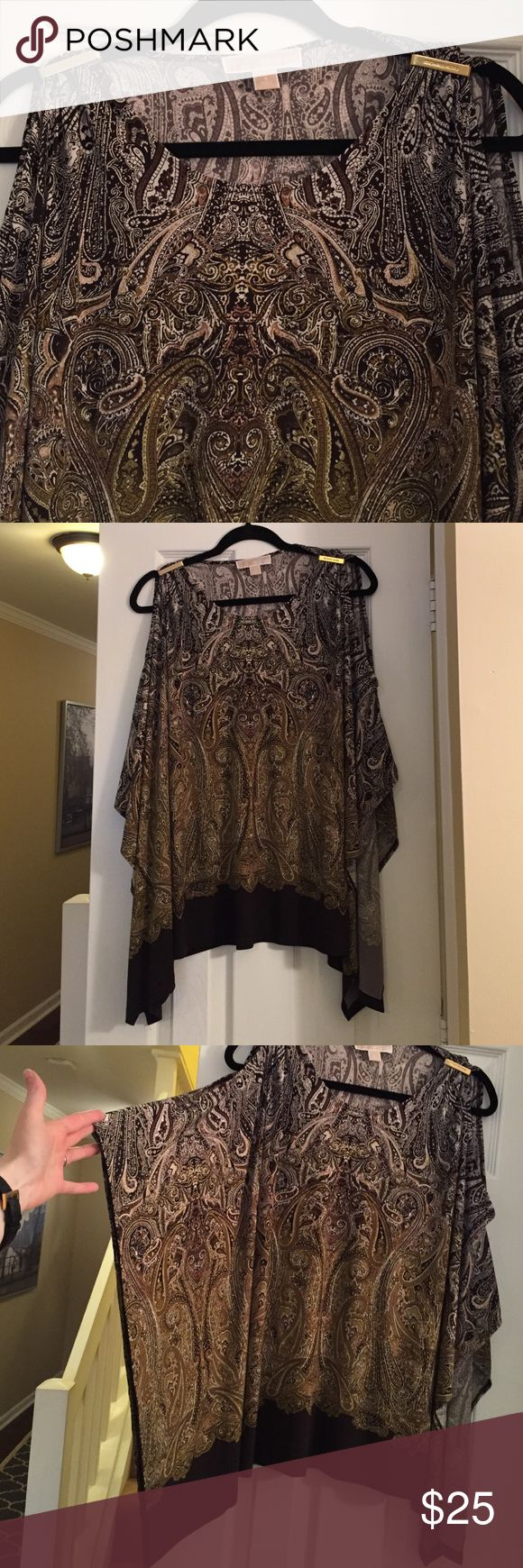 Michael kors batwing top Brown and green paisley long sleeve batwing style top with slit in both sleeves, attached at shoulder with gold Michael Kors emblem bar Michael Kors Tops