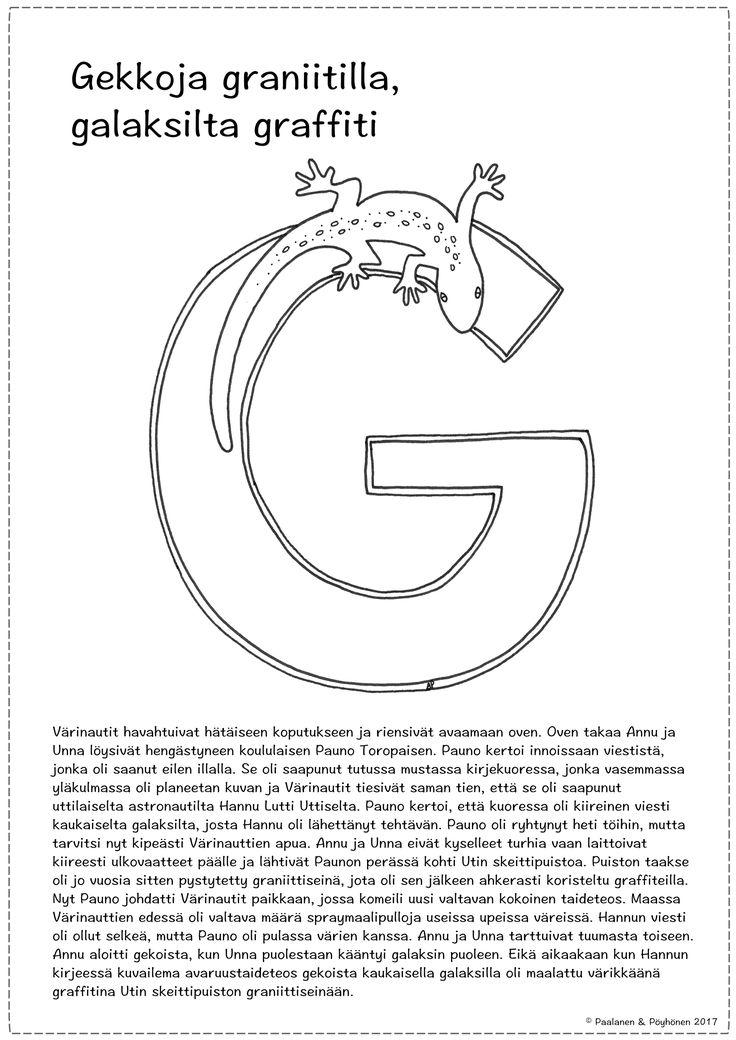 G-kirjain tarina ja värityskuva