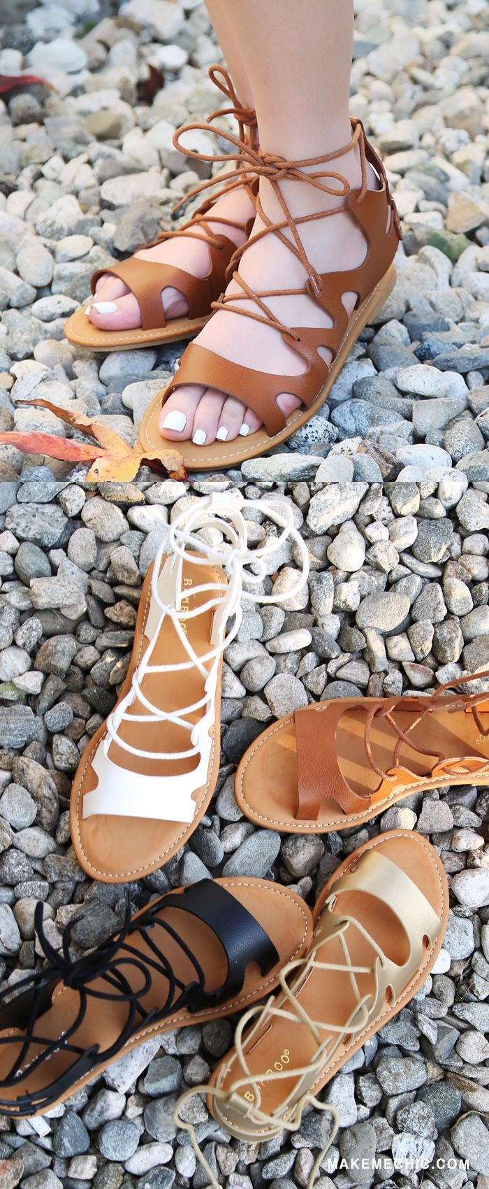 "Step into bliss with the Open Toe Gladiator Lace Up Sandals! These on trend sandals feature an open toe, lace up front design, and PU upper. Finished off with a .25"" flat heel and slightly cushioned insole for added comfort. Pair with high waisted shorts and a faux suede fringe vest for a chilled out bohemian vibe!"