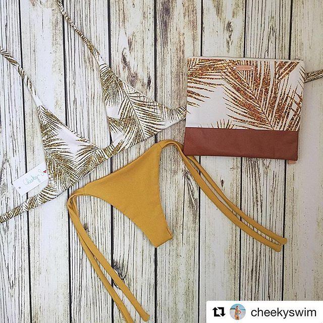 Champagne Palm bikini by @cheekyswim, eco friendly canvas clutch bag by @whitecraneaccessories, fabric design by #mirabelleprint. ✨☀️