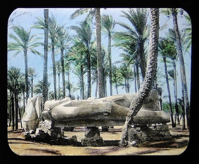 Statue of Rameses The Great In Memphis, Egypt - old tinted magic lantern slide