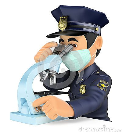 Cartoon Illustration about 3D Scientific police analyzing forensic evidence