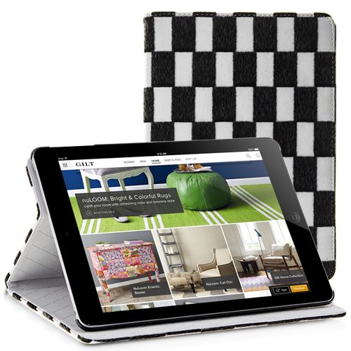 Grid Trimmed Fur PU Leather Stand Case for iPad Air - White #ipadair #ipadcover #ipadcase #cheapcase #cellz.com $8.25
