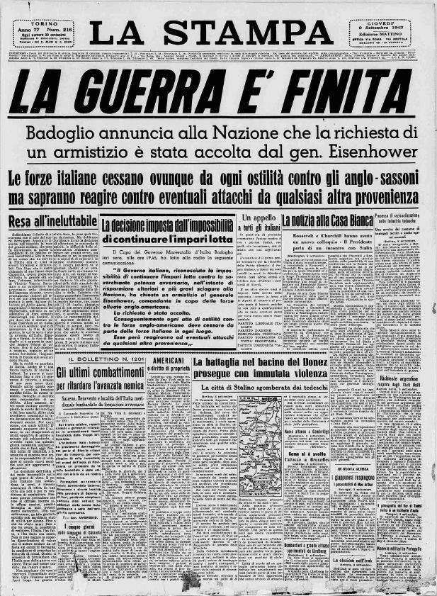 Il 9 settembre 1943 è la fine della Seconda Guerra Mondiale.