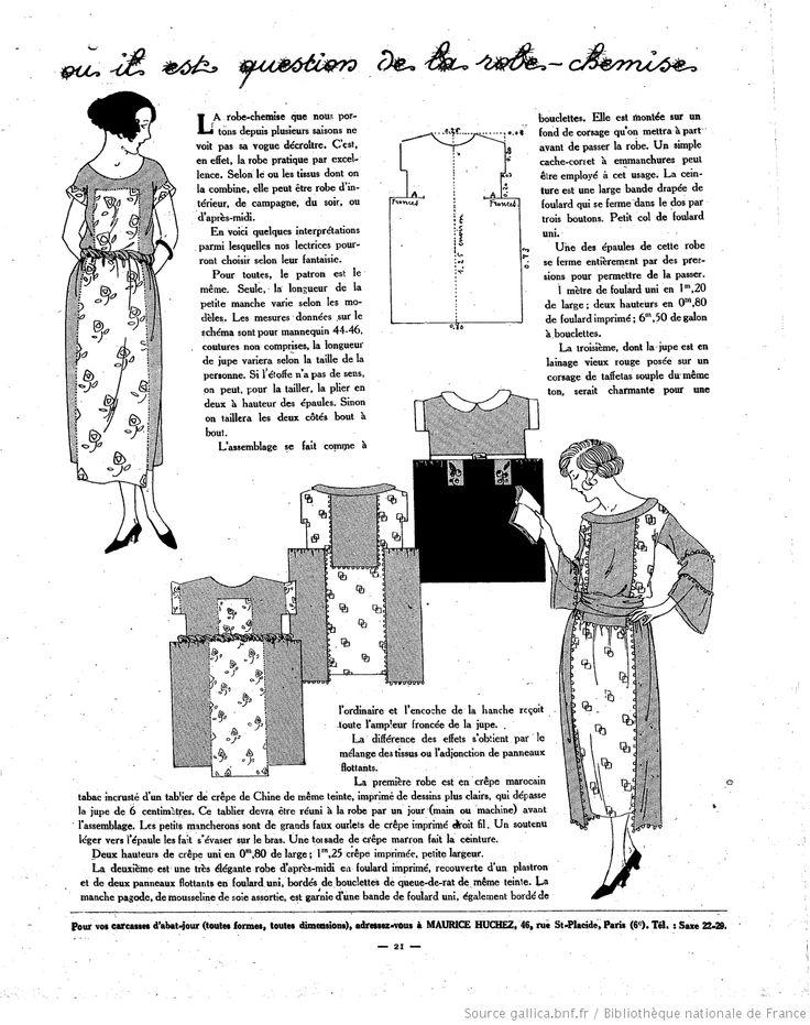 """La Femme de France 16 juin 1921 : variations sur la """"robe-chemise"""" à composer à partir de petits métrages de mousseline, ou de foulards : simple et inventif !"""
