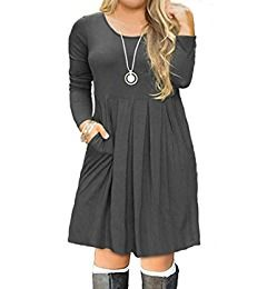 ab2932272ac FOLUNSI Women's Plus Size Long Sleeve Pleated Causal Swing Dress with  Pockets for Party Wine Red 3XL at Amazon Women's Clothing store:
