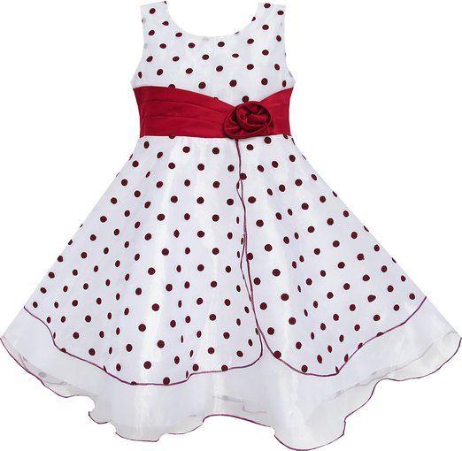 EZ35 Sunny Fashion - Vestido lunares para niña rojo 11-12 años