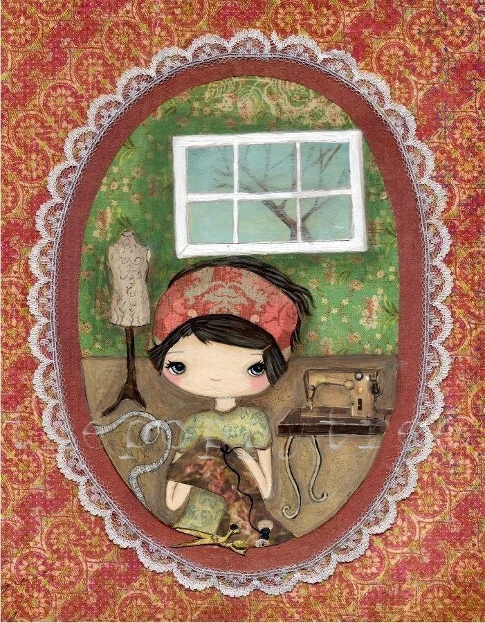 Sewing Seamstress Print---The Seamstress. $18.00, via Etsy.