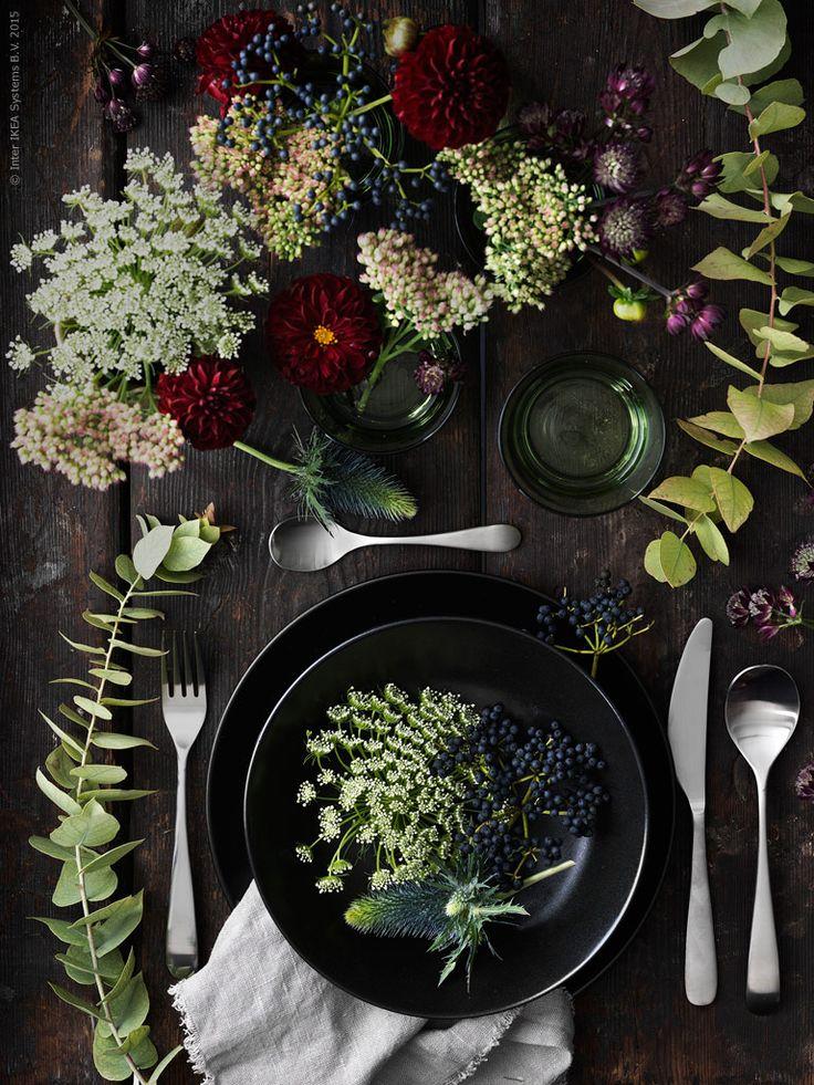 Säsongens bord dukar vi i mustiga färger! Svart DINERA stengods och färgat DIOD glas i harmoni med mörkt röda dahlior, kärleksört och små kvistar direkt från höstpromenaden. BEHAGFULL bestick 24 delar och servett av AINA metervara i linne.