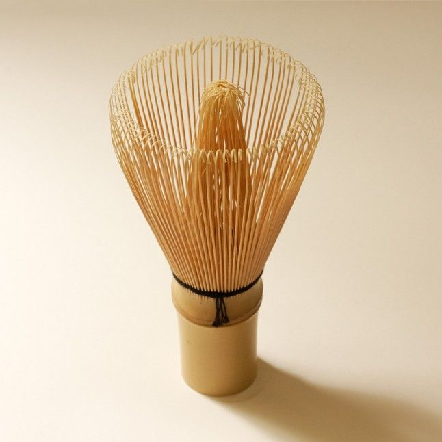 Matcha Whisk - Chasen $34.00 100 tines  Made from 100 hand-cut bamboo splits by craftsmen in Kyoto, Japan. This bamboo whisk is the most traditional size and shape made in Japan.  A greater number of tines will create a finer froth of matcha tea.