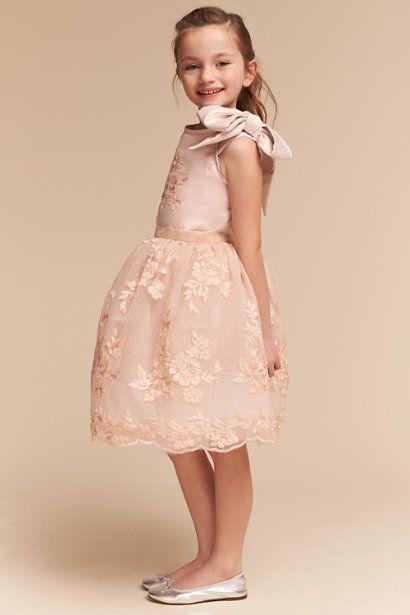 Blush Floral Lace Flower Girl Dress