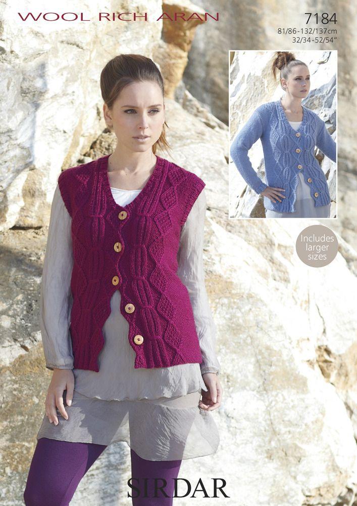 V-Neck Long Sleeve Cardigan & Waistcoat in Sirdar Wool Rich Aran - 7184