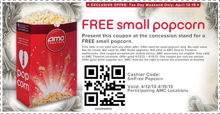 Tax Weekend Freebie: Free Small Popcorn at AMC Theaters