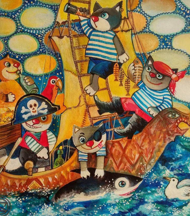 Пиратики  #кот #котик #котики #пираты #арт  #chat  #pirate  #pirates  #cats  #cat   #artwork  #oxanazaika
