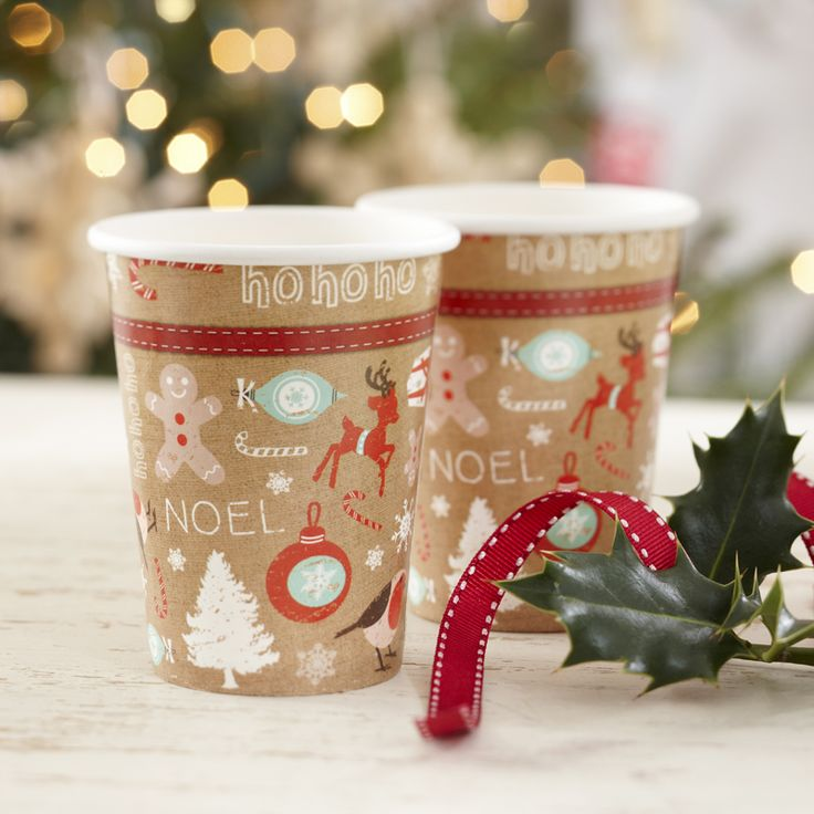 A Vintage Noel Christmas Party Cups from Pink Frosting Christmas Shop