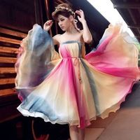 2014 spring summer new women's expansion bottom bust pleated skirt multicolour long chiffon skirt female free shipping