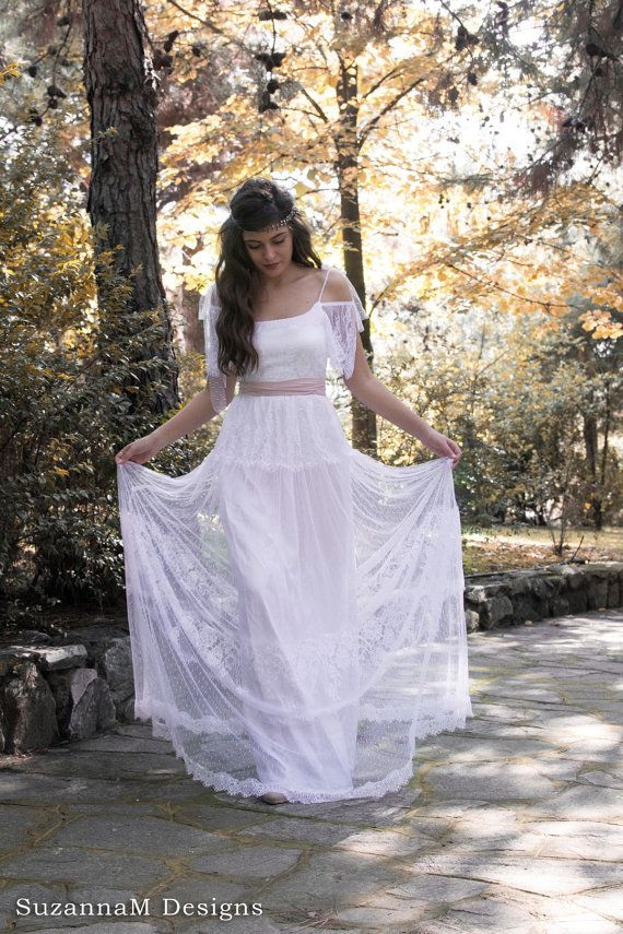 Lace Wedding Dress, Boho Lace Wedding Dress, Tulle Wedding Dress, Bohemian Bridal Gown, Long Wedding Dress, White Bridal Gown,Bohemian Dress