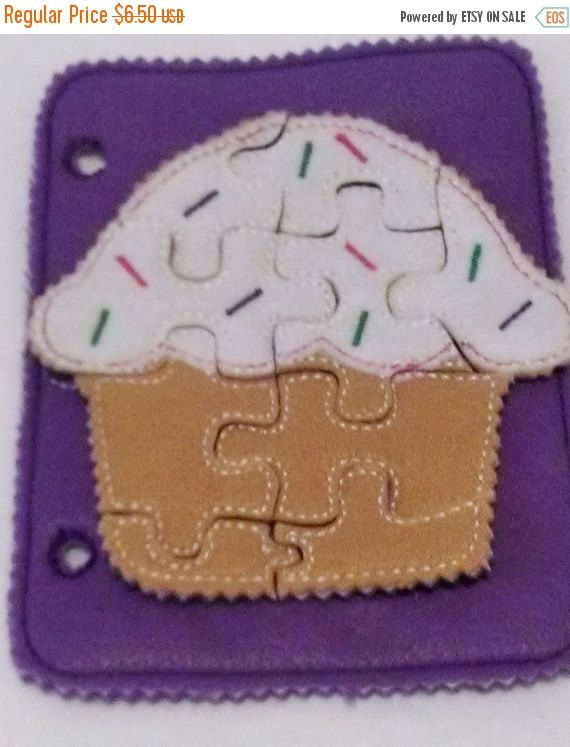 SALE Cupcake felt puzzle with template carry case Felt Puzzle game Perfect for party favors school treats  busy bags or quiet books