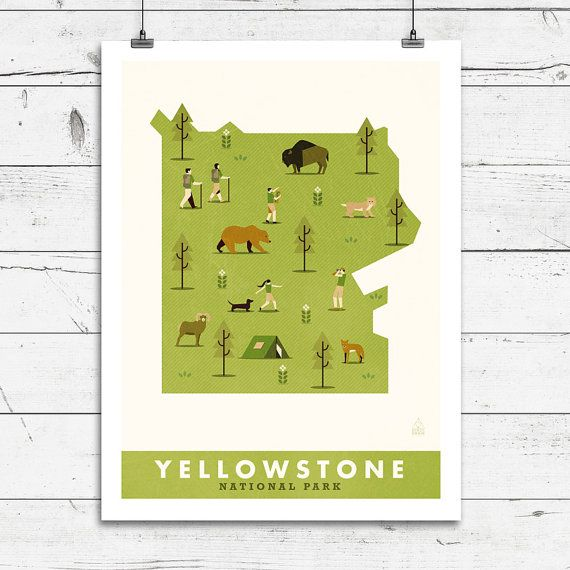 Yellowstone National Park Map Map Print by ConsiderGraphics