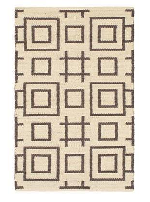73% OFF Hand Woven Natural Plush Kilim, Black/Yellow/Cream, 3' 7