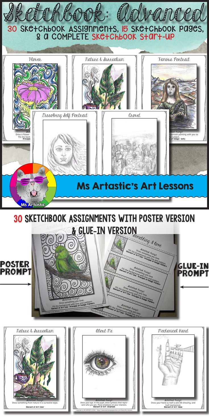 Start-up sketchbooks in your art classroom with amazing sketchbook assignments and sketchbook prompts! Sketchbooks should be a source of creativity and joy for students. Provide your students with engaging sketchbook assignments that they can connect to, and through it, discover their identity and passions in life.