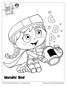 wonder red coloring page super why coloring pages for kids sprout