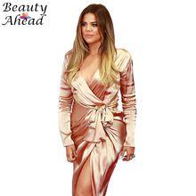 Yeni kadın maxi elbise Uzun Kollu V Yaka Sonbahar uzun Elbise Kim Kardashian yüksek Yarıklar vestidos pembe saten wrap elbiseler(China (Mainland))
