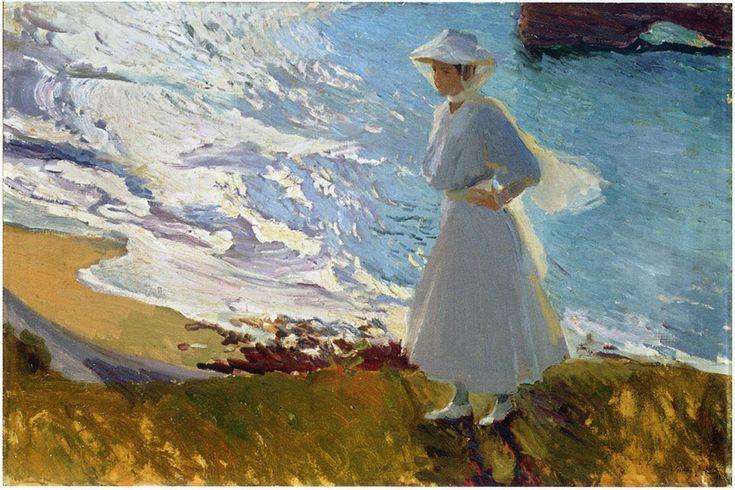 Joaquin Sorolla y Bastida >> maria en playa, `Biarritz`