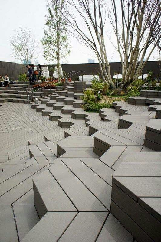 composite wood seating area area, amphitheater, outdoor seating