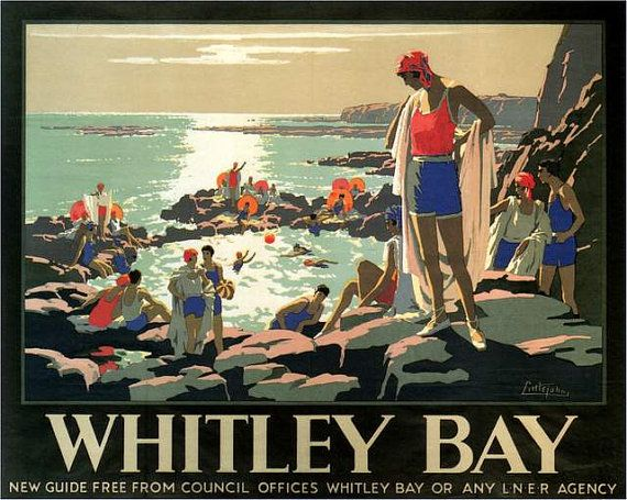 Whitley Bay Northumberland England Travel Poster by BloominLuvly, $7.95