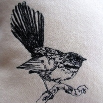 Handmade freehand embroidered CUSHIONS COVERS This my fantail cushion cover, it is made by my me and my trusty Bernina sewing. I freehand embroider a drawing of a little fantail bird onto 100% pure New Zealand wool blanket. Each Bird is completed by hand so they all differ slightly, such is the beauty of a handmade original. The cushion...