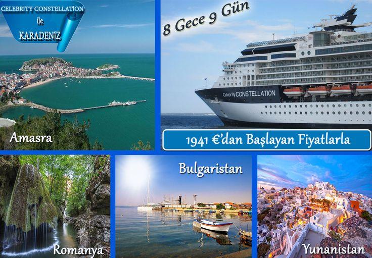Yeni Rotamız Karadeniz...  Tarihi değerleri, lezzetli mutfağı, meşhur salatası ve Karadeniz kıyısında oluşu ile her mevsim tercih edilen turistik şehir Amasra. Bulgaristan'ın Tuna Nehri, Romanya'nın Karpat Dağları, Yunanistan'nın Afrodizyak Özellikli, Tedavi Edici Kırmızı Safran'ı. Ve Dahası... 8 Gün 9 Gece Süresince Karadeniz'e Aşık Olacaksınız.   http://outgoing.turaturizm.com/index/detay/83/1126/12196/10/14/celebrity-constellation-karadeniz/