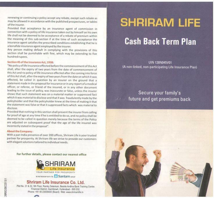 Shriram Life Cash Back Term Plan