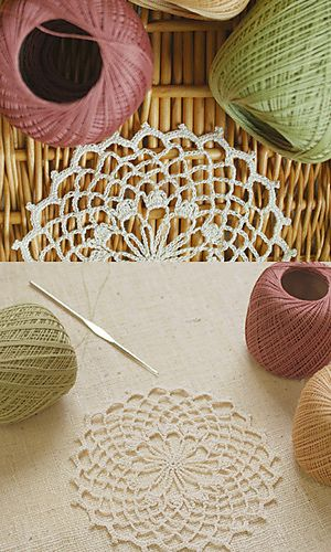 Cotton Lace Doily pattern by Pierrot (Gosyo Co., Ltd). Free Japanese crochet pattern, fully charted using standard crochet symbols.