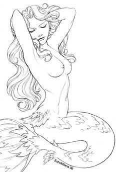 realistic mermaid drawings - Google Search