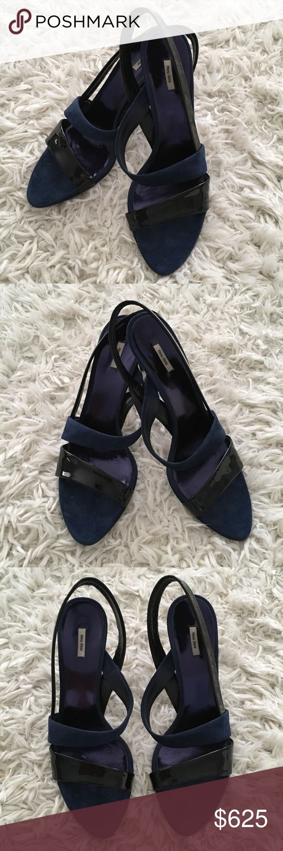 Miu Miu Strappy Heel Sandals 👠 These designer Miu Miu shoes are in great condition!  These shoes are navy blue suede with black paten leather.  So stylish yet classic! They are comfortable and easy to walk in. Perfect for any season! Miu Miu Shoes